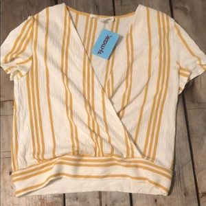 Crop top wrap-mustard and cream stripes
